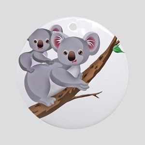 Koala and Baby on Eucalyptus Tree B Round Ornament