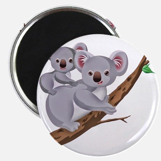 Koala and Baby on Eucalyptus Tree Branch Magnet