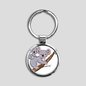 Koala and Baby on Eucalyptus Tree B Round Keychain