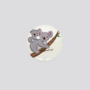 Koala and Baby on Eucalyptus Tree Bran Mini Button