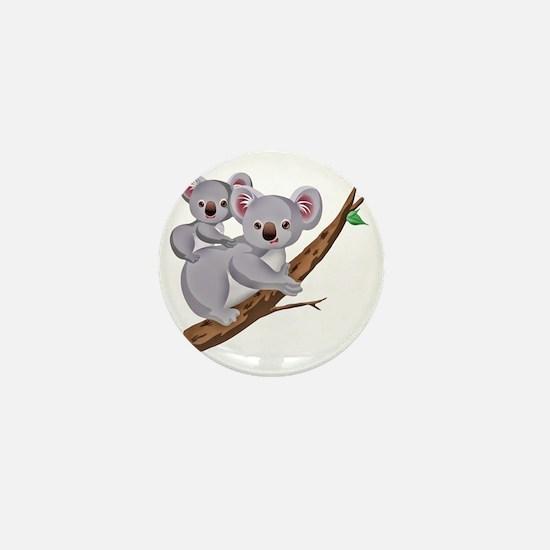 Koala and Baby on Eucalyptus Tree Bran Mini Button