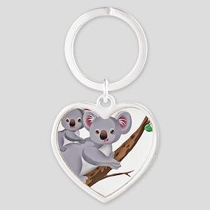 Koala and Baby on Eucalyptus Tree B Heart Keychain