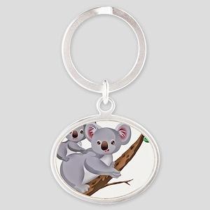 Koala and Baby on Eucalyptus Tree Br Oval Keychain