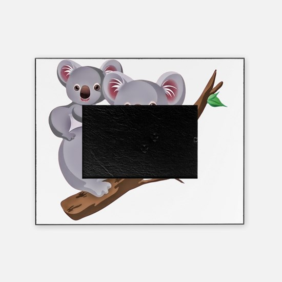 Koala and Baby on Eucalyptus Tree Br Picture Frame