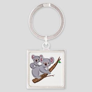 Koala and Baby on Eucalyptus Tree  Square Keychain