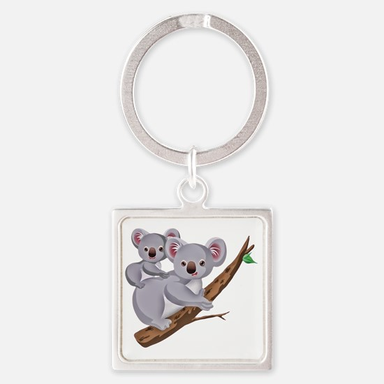 Koala and Baby on Eucalyptus Tree  Square Keychain