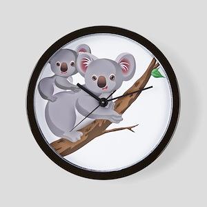 Koala and Baby on Eucalyptus Tree Branc Wall Clock