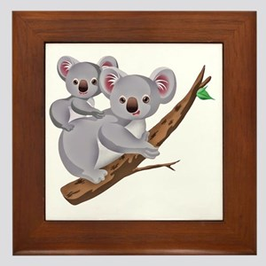 Koala and Baby on Eucalyptus Tree Bran Framed Tile