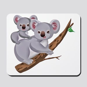 Koala and Baby on Eucalyptus Tree Branch Mousepad