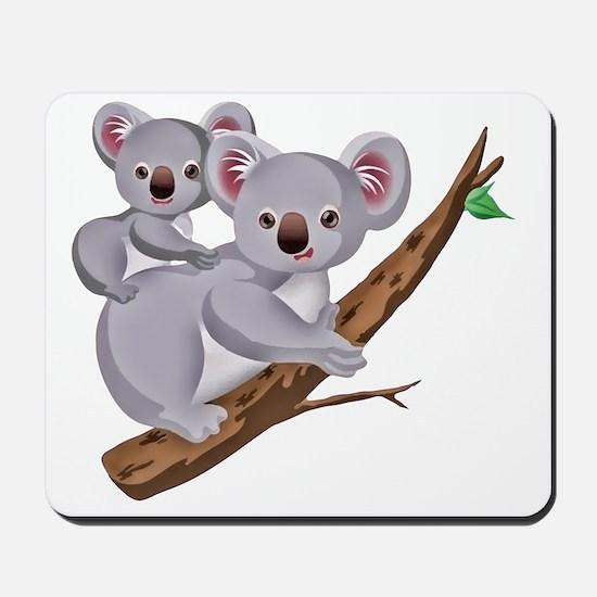 Koala and Baby on Eucalyptus Tree Branch Mousepad