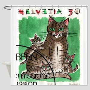 Vintage 1990 Switzerland Cats Postage Stamp Shower