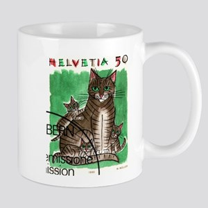 Vintage 1990 Switzerland Cats Postage Stamp Mug