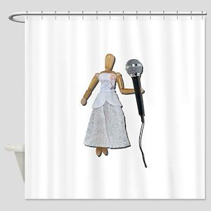 WomanUsingAudioMicrophone081311 Shower Curtain
