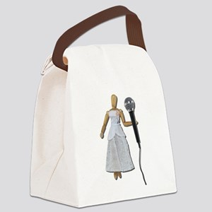 WomanUsingAudioMicrophone081311.p Canvas Lunch Bag