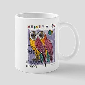 Vintage 1991 Switzerland Owls Postage Stamp Mug