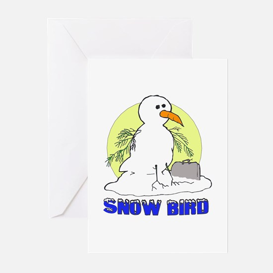 Snowbird Vacation Cartoon Greeting Cards (Package