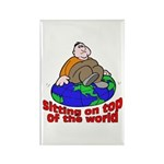On Top of the World Cartoon Rectangle Magnet (10 p