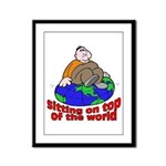 On Top of the World Cartoon Framed Panel Print