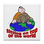 On Top of the World Cartoon Tile Coaster