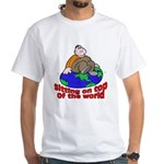 On Top of the World Cartoon (Front) White T-Shirt