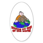 On Top of the World Cartoon Oval Sticker