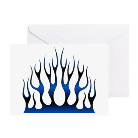 Tribal Flames Fire Blue Greeting Cards (Pk of 10)