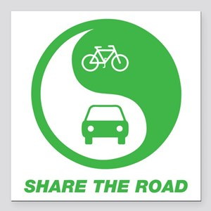 """SHARE THE ROAD Square Car Magnet 3"""" x 3"""""""