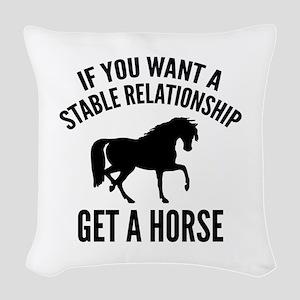 Get A Horse Woven Throw Pillow
