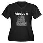 Moscow Women's Plus Size V-Neck Dark T-Shirt