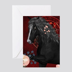 Awesome black horse with flowers Greeting Cards