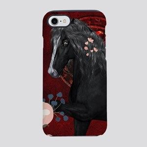 Awesome black horse with flowers iPhone 7 Tough Ca