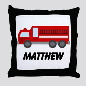 Personalized Fire Truck Throw Pillow