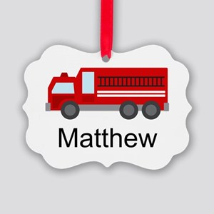 Personalized Fire Truck Picture Ornament