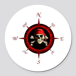 Pirate Compass Rose Round Car Magnet