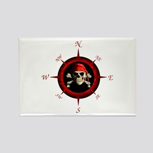Pirate Compass Rose Rectangle Magnet