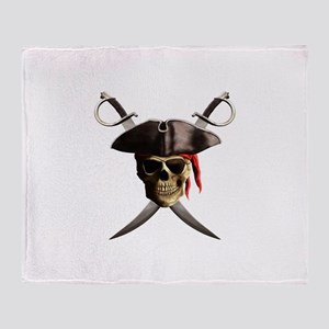 Pirate Skull And Swords Throw Blanket