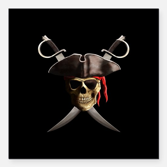 "Pirate Skull And Swords Square Car Magnet 3"" x 3"""