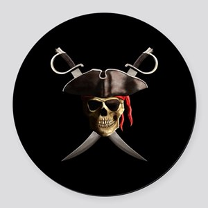 Pirate Skull And Swords Round Car Magnet