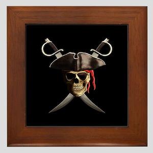 Pirate Skull And Swords Framed Tile