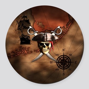 Pirate Map Round Car Magnet