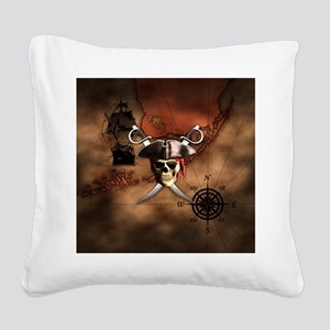 Pirate Map Square Canvas Pillow