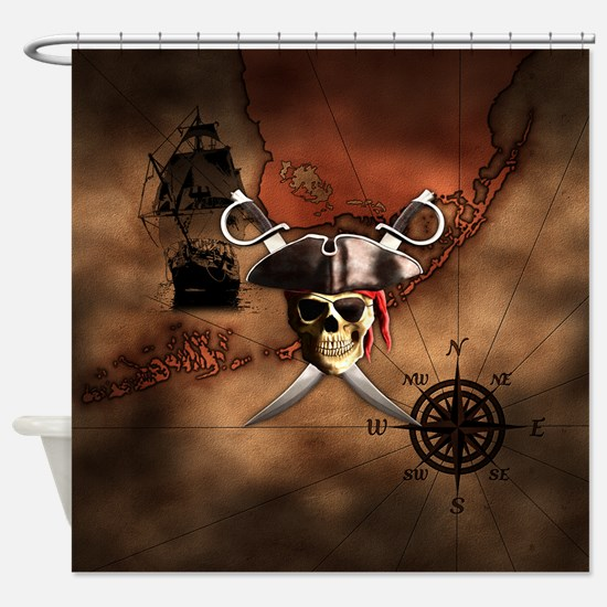 Pirate Map Shower Curtain