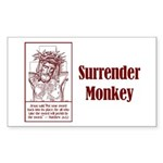 Surrender Monkey Rectangle Sticker