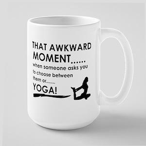 Awkward moment Yoga designs Large Mug