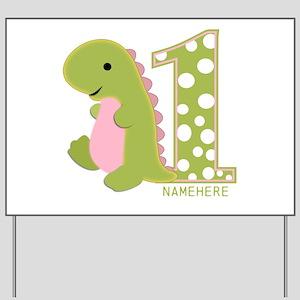 Customized First Birthday Green Dinosaur Yard Sign
