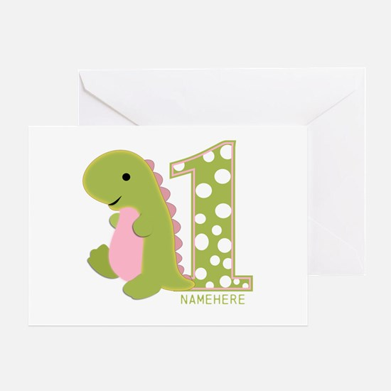 Customized First Birthday Green Dinosaur Greeting
