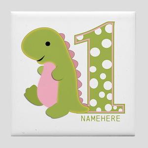 Customized First Birthday Green Dinosaur Tile Coas