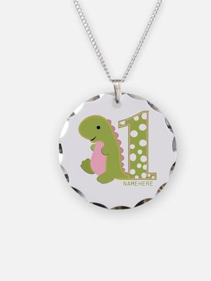 Customized First Birthday Green Dinosaur Necklace