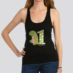Customized First Birthday Green Dinosaur Racerback