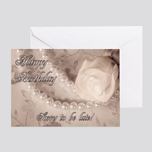 Sorry to be late, birthday card with pearls Greeti